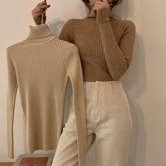Áo len cổ lọ thiết kế đơn giản