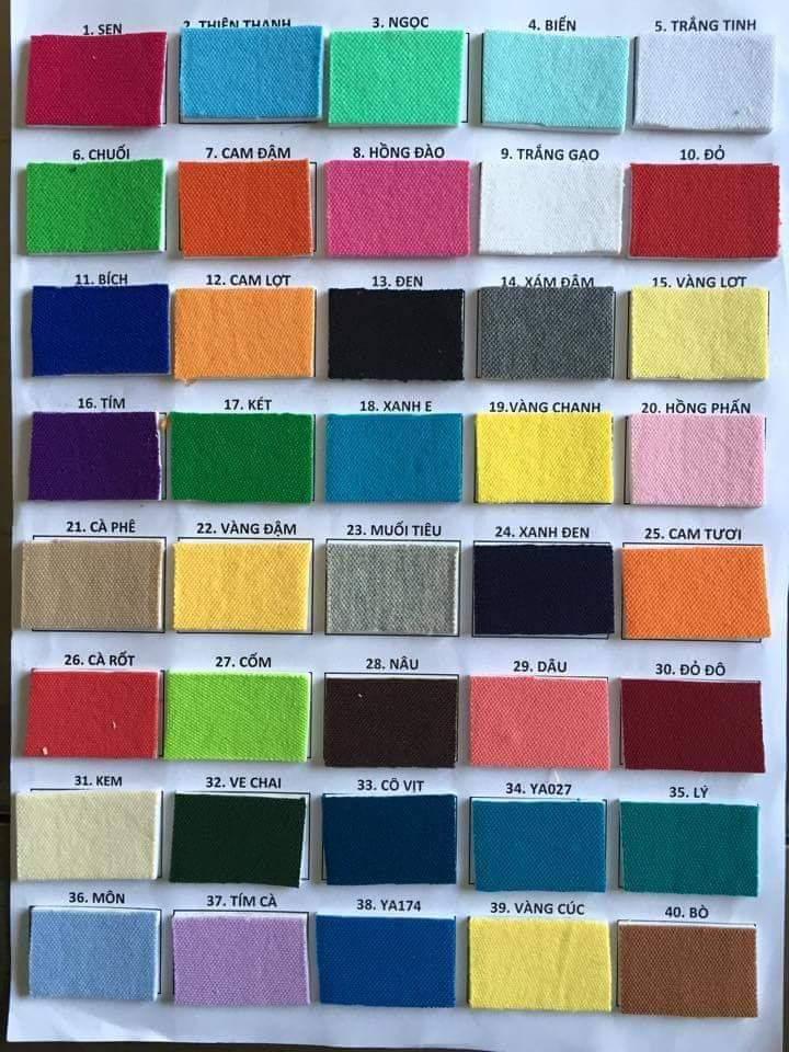 Bảng màu vải cotton 65%