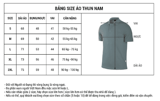 Bảng size áo đồng phục lớp - Áo thun nam