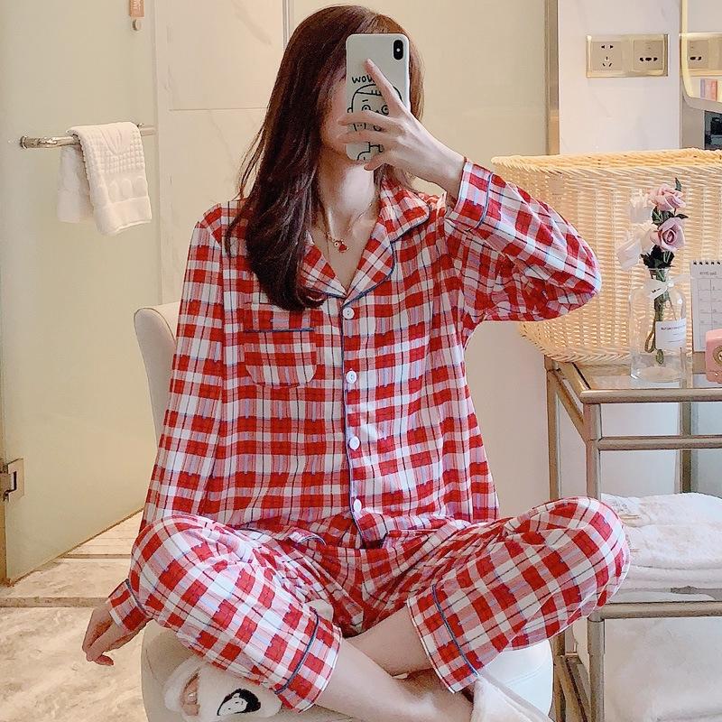 Những mẫu đồ ngủ đẹp - Họa tiết caro kẻ to tạo diện mạo cân đối cho cơ thể