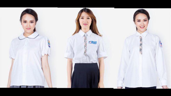 Mẫu áo trắng học sinh nữ cấp 3