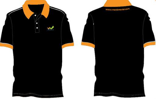 Mẫu áo thun đồng phục có cổ màu đen – cam