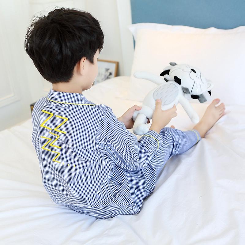 Đồ bộ pijama caro xanh trắng cho bé trai