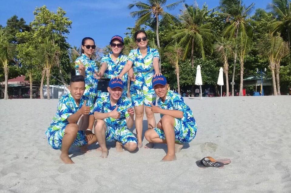 bộ pijama đi biển màu xanh da trời