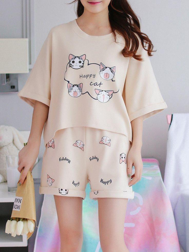 Bộđồ mặc nhàmùa hè cotton mèo dễ thương