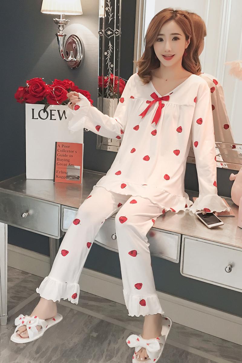 Bộ đồ cotton dài tay mặc nhà đơn giản
