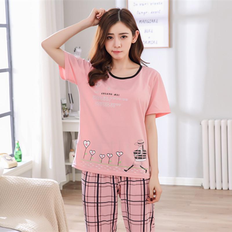 Đồ bộ mặc nhà vải cotton dài màu hồng