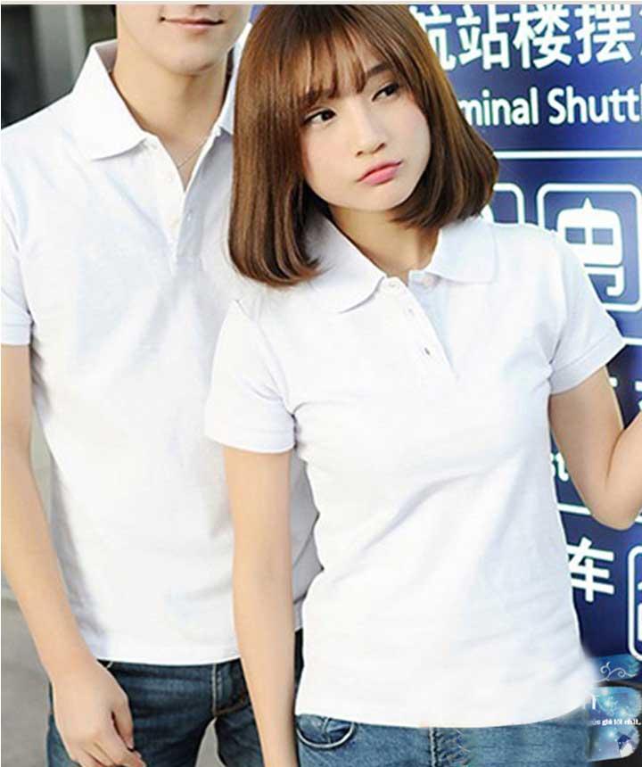 Mẫu áo thun trắng có cổ nam/ nữ đơn giản, đẹp