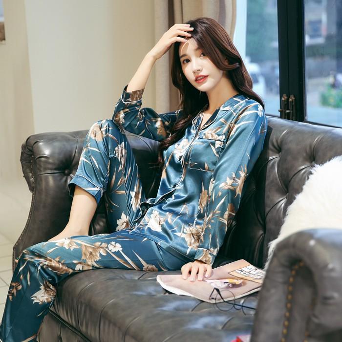Bộ quần áo ngủ lụa dài tay đẹp