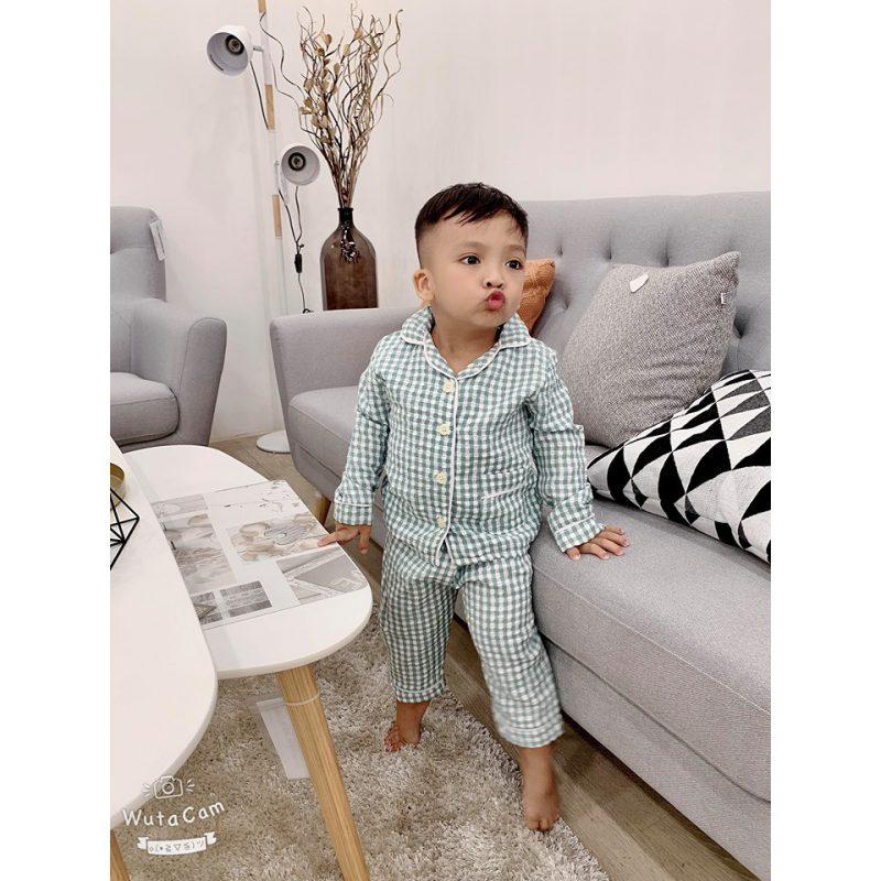 Đồ ngủ pijama caro cho bé trai