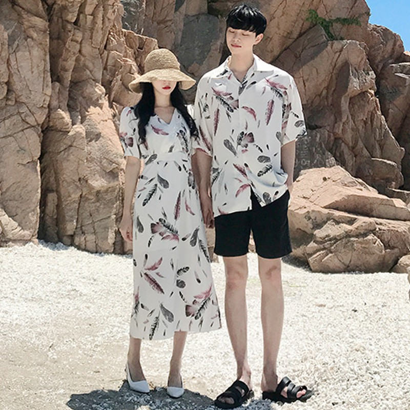 Đồ Pijama đi biển cặp đôi màu trắng xinh