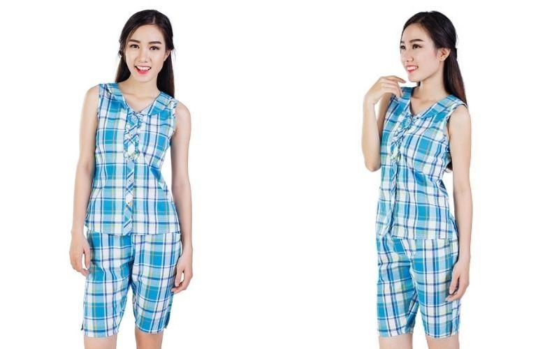 Các kiểu đồ bộ mặc nhà - Caro xanh nước biển