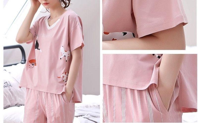 Các kiểu đồ bộ mặc ở nhà - Bộ thun đùi cổ tim màu hồng pastel