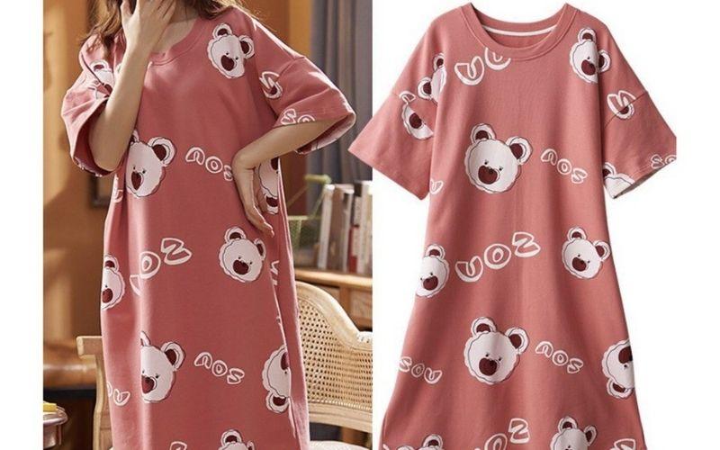 Đồ bộ nữ hình gấu đáng yêu với màu hồng đất