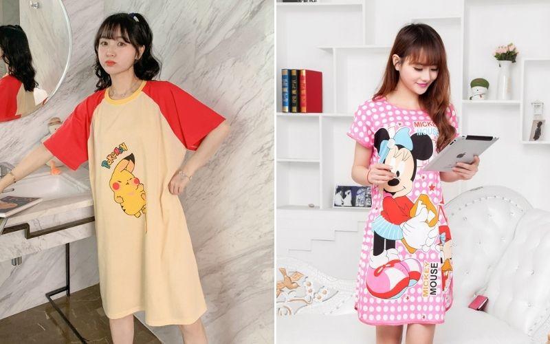 Váy suông in hoạt hình kết hợp những màu tươi sáng
