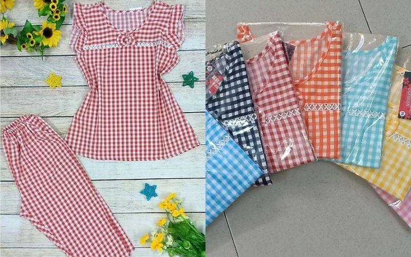 Kiểu đồ bộ mặc nhà dễ thương - Ca rô đủ màu kết hợp với quần lửng