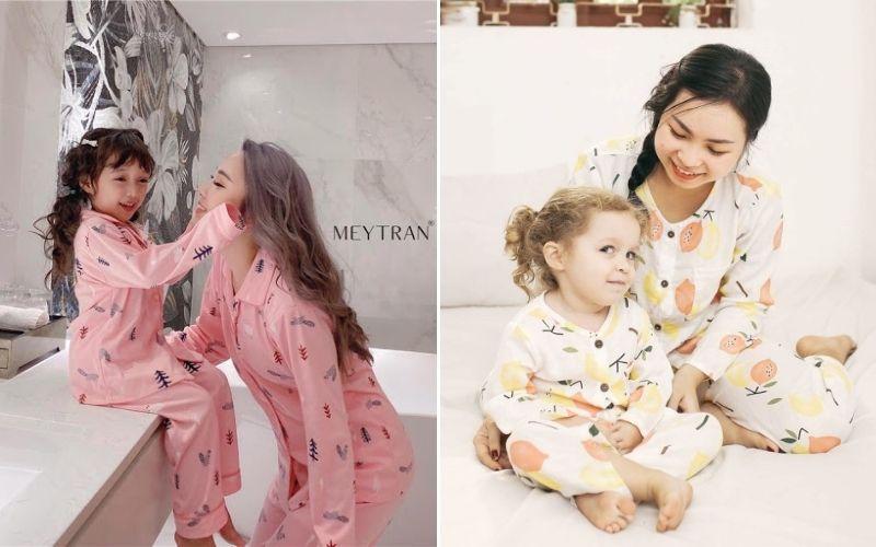 pijama đôi cho mẹ và bé dáng dài
