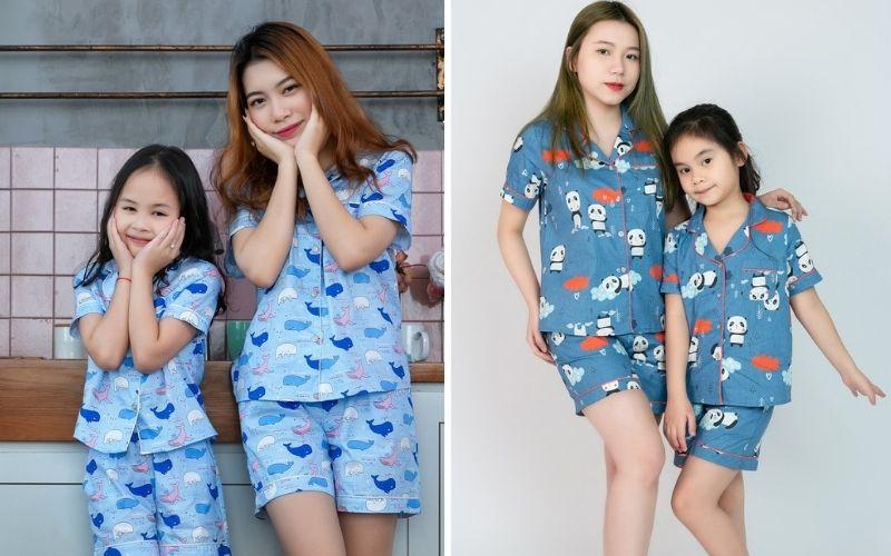 pijama đôi cho mẹ và bé dáng ngắn
