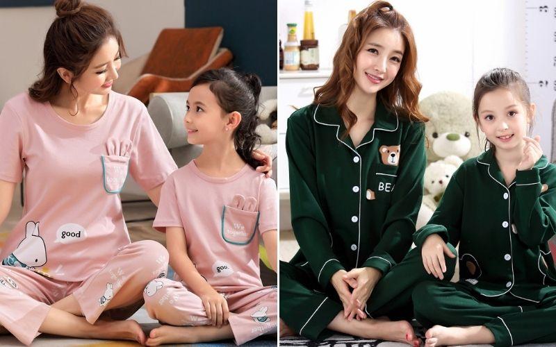 pijama đôi cho mẹ và bé in hình thú