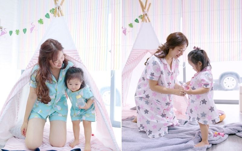 pijama đôi cho mẹ và bé in họa tiết