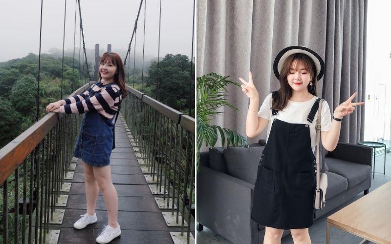 Váy yếm jean - Thời trang cho người mập lùn