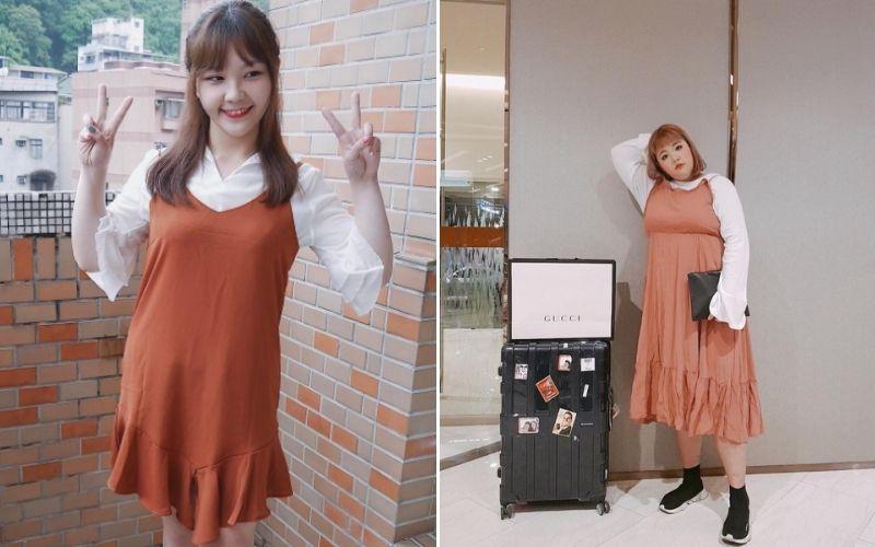 Váy yếm màu cam gạch