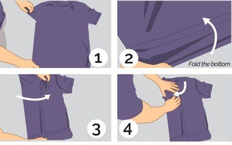 8 bước cách gấp áo sơ mi ngắn tay (1)