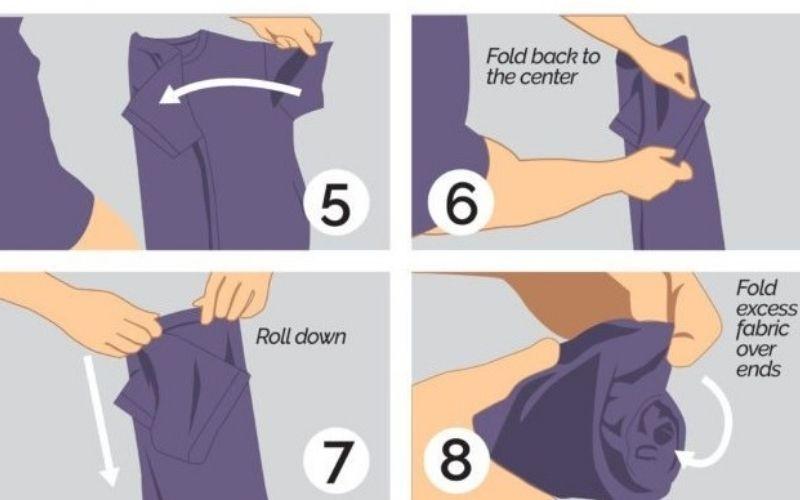 8 bước cách gấp áo sơ mi ngắn tay (2)
