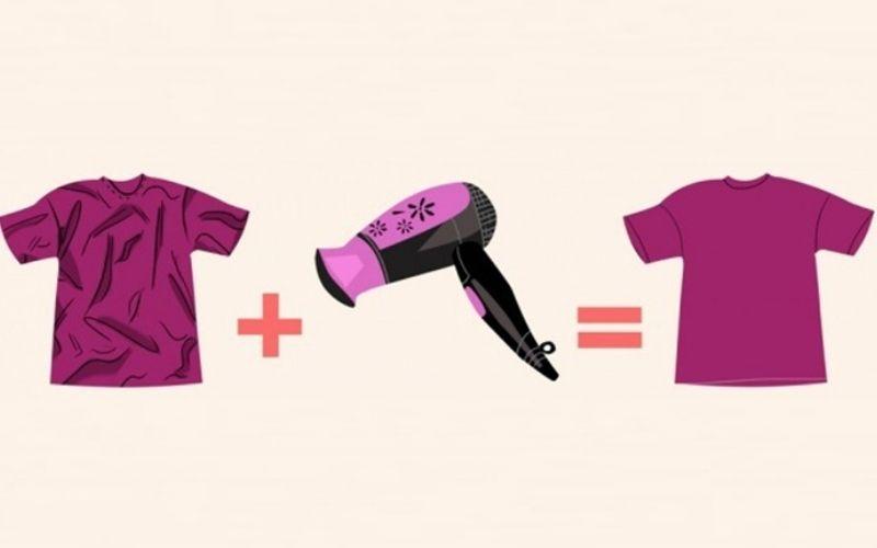 Cách ủi đồ bằng máy sấy tóc