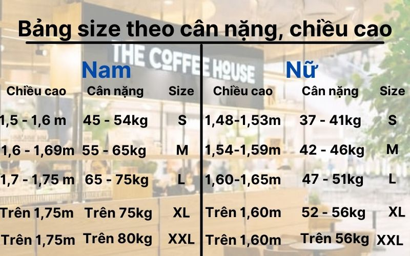 Bảng size đồng phục của the coffee house